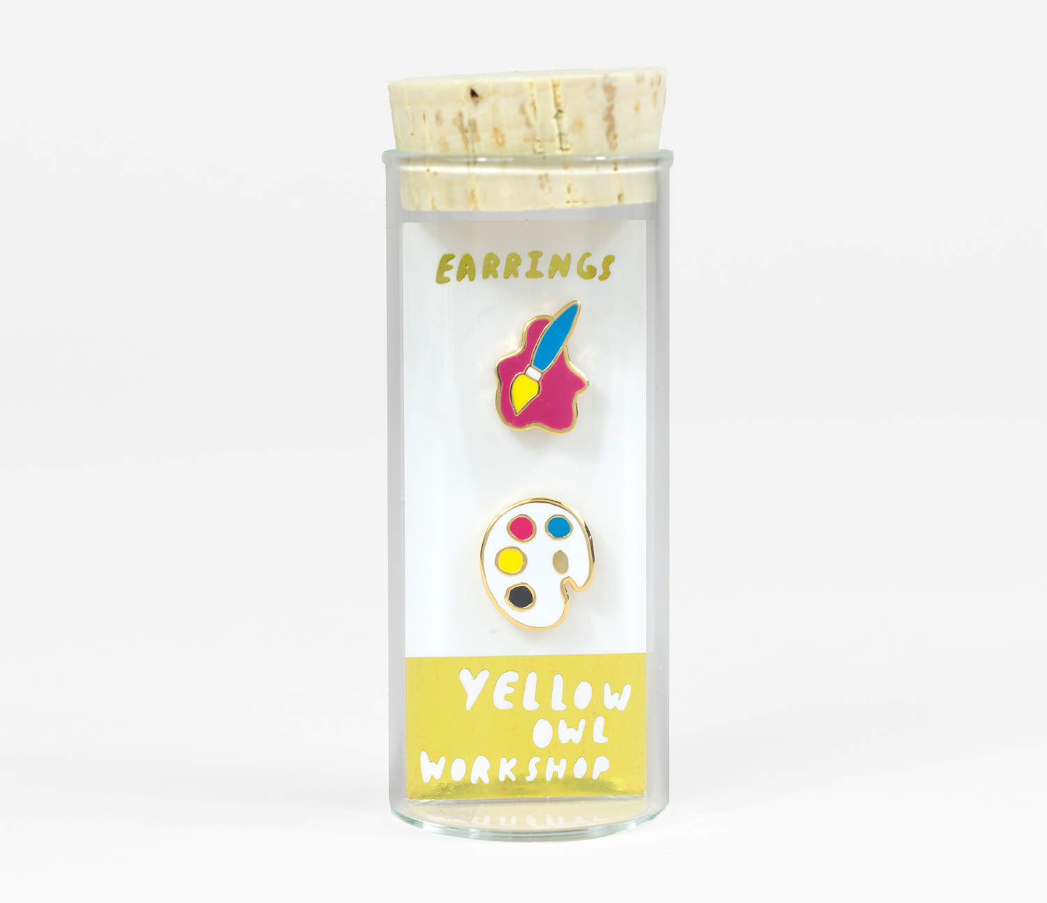 Yellow owl paint brush and palette mismatched earrings main 5a7e070ec2241 1500